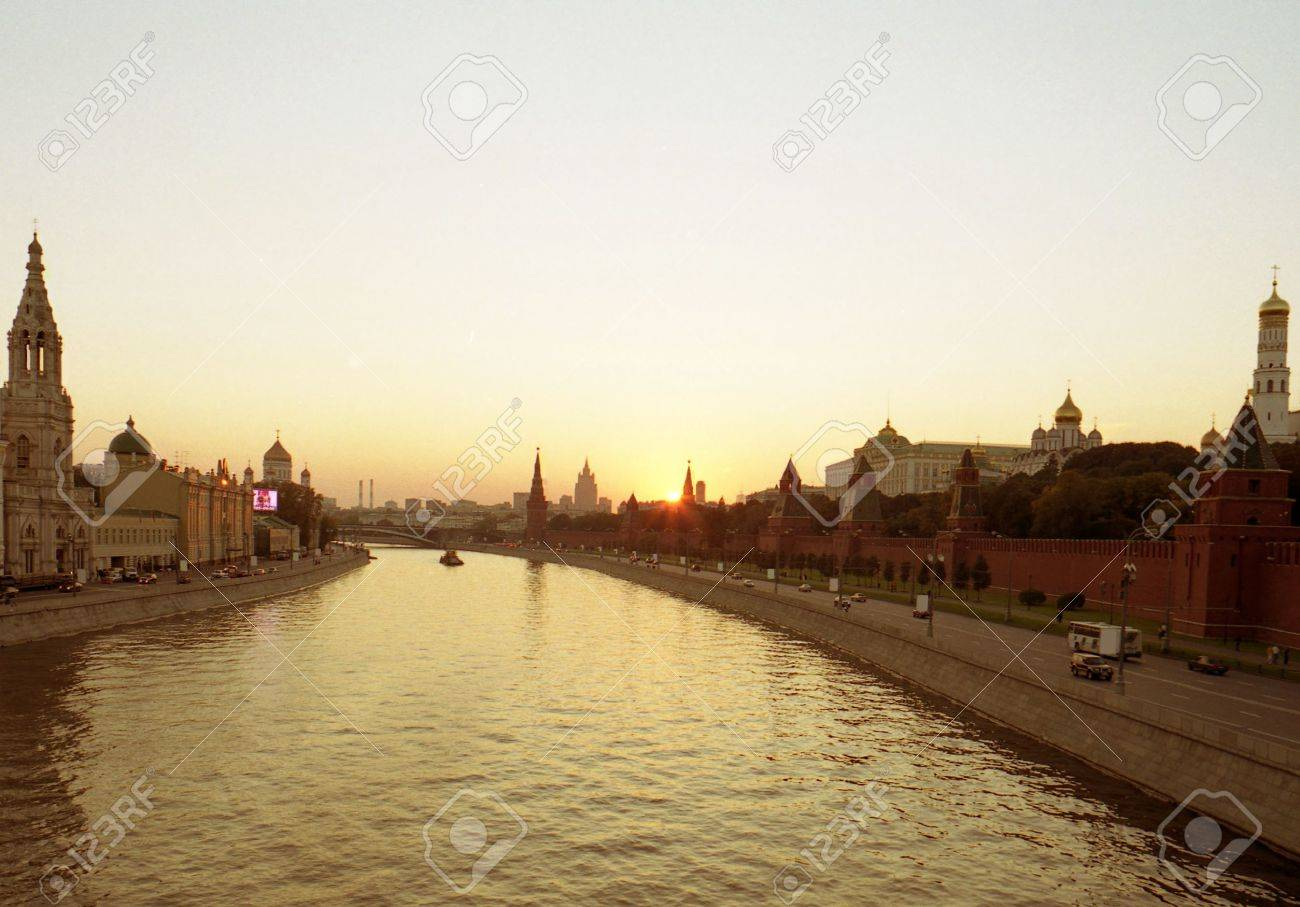 sunset above Moscow Russia Kremlin Stock Photo - 5781467