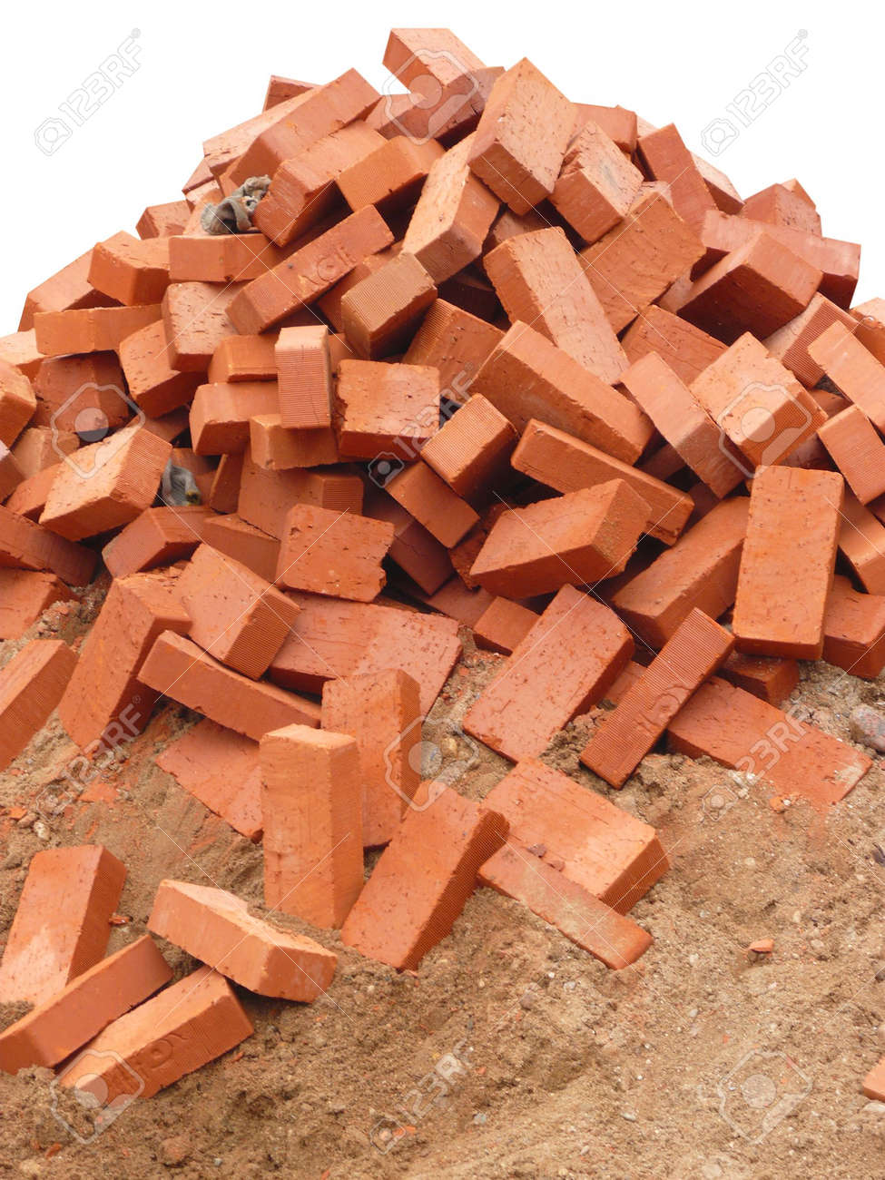 heap of red brick on white background Stock Photo - 6236022