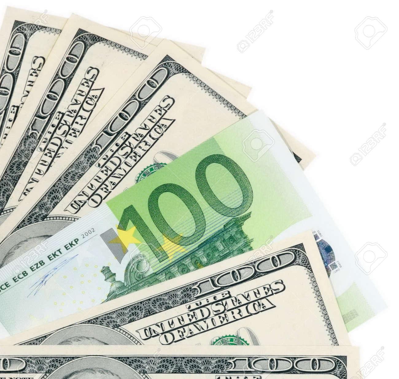 dollar and euro on white Stock Photo - 8801545