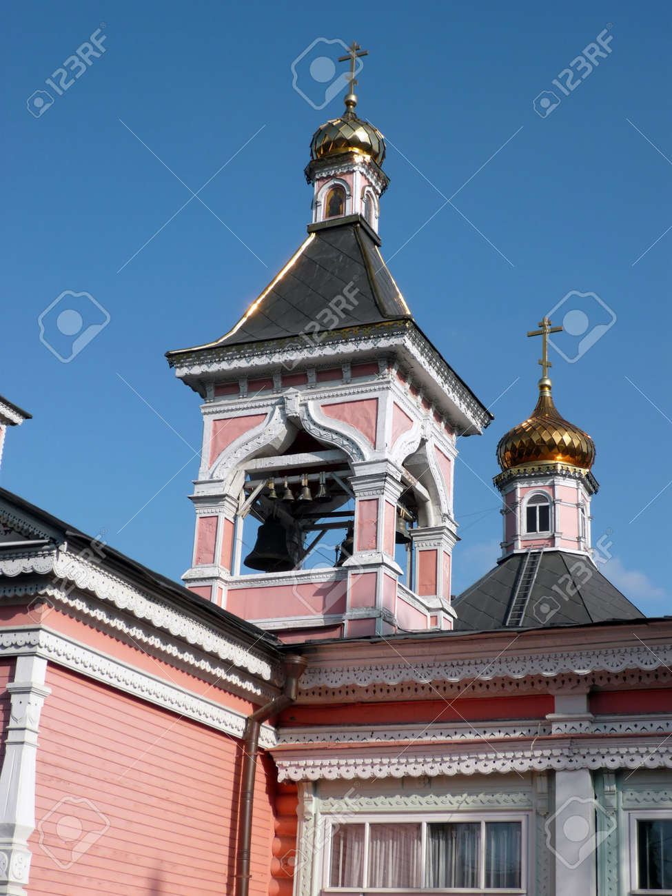 old wood temple bogorodskiy and asberry at sunny day Stock Photo - 13811162