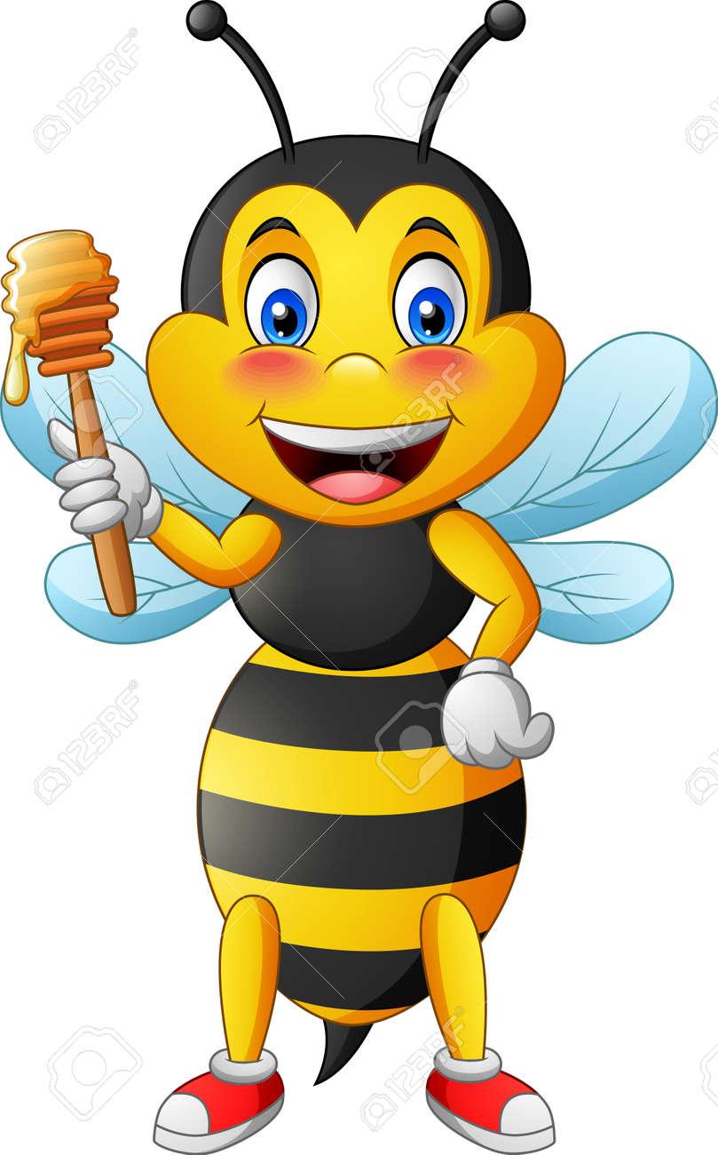 Cute bee cartoon holding honey. vector illustration - 124365932