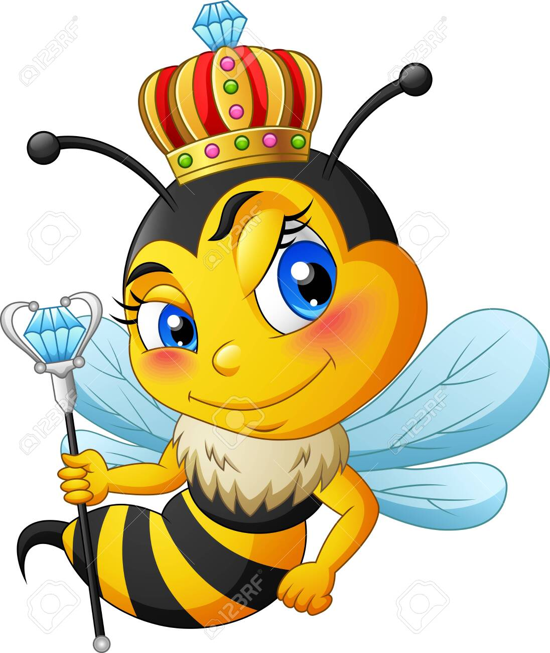 Queen Bee Cartoon With Crown Illustration Stock Photo Picture And Royalty Free Image Image 124366119 Yellow crown logo, crown, cartoon queen crown, cartoon character, cartoons, crowns png. queen bee cartoon with crown illustration