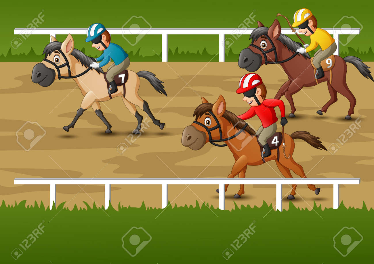 Horse Racing Cartoon Vector Illustration Royalty Free Cliparts Vectors And Stock Illustration Image 129710526