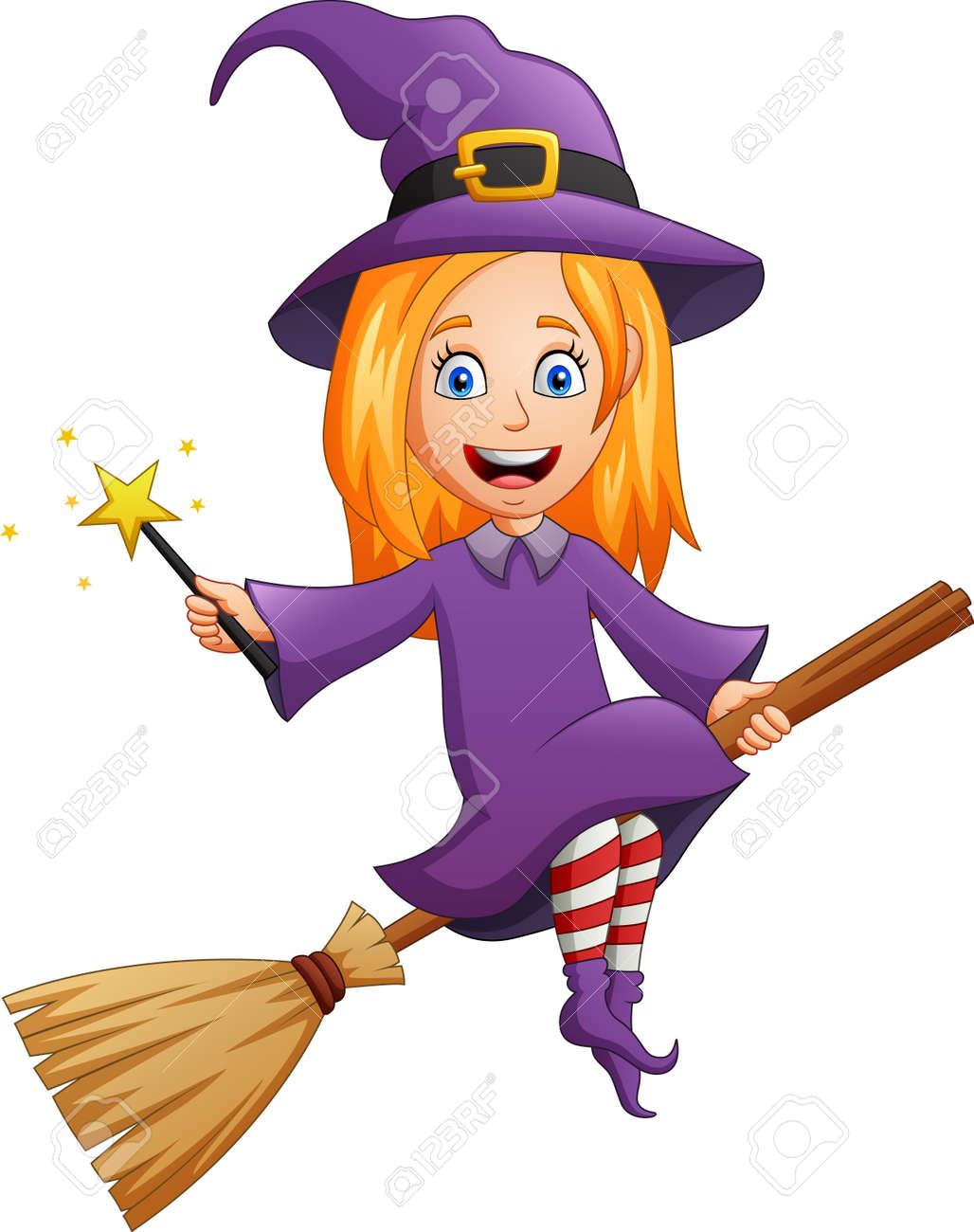 Halloween cartoon character witch costume with holding wand. vector illustration - 129710530