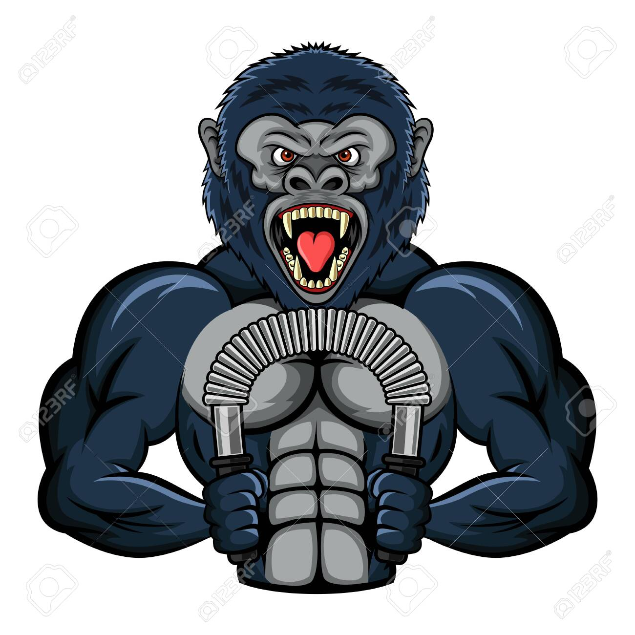 Mascot a strong gorilla performs an exercise with a power twister biceps. vector illustration - 139004810