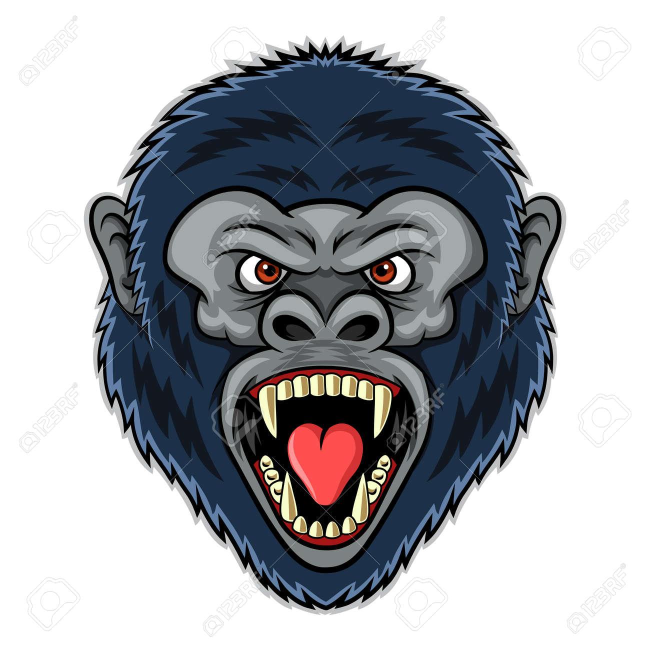 Mascot of angry gorilla head. Illustration - 139004818