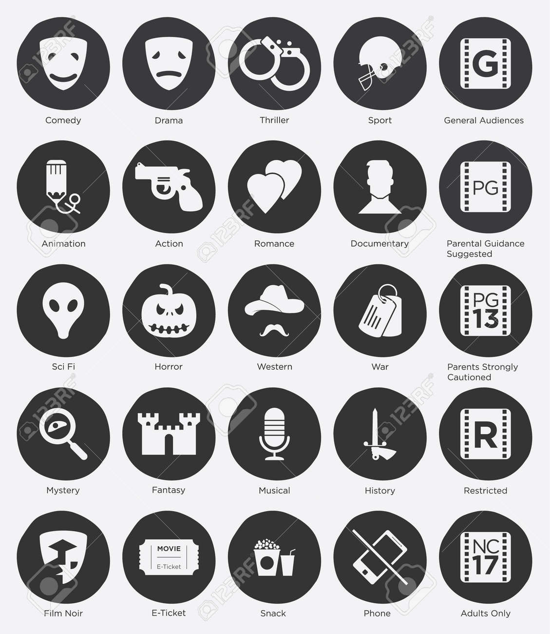 Set of Online Cinema Icon and Film Genres Icon in Flat Design - 30674219