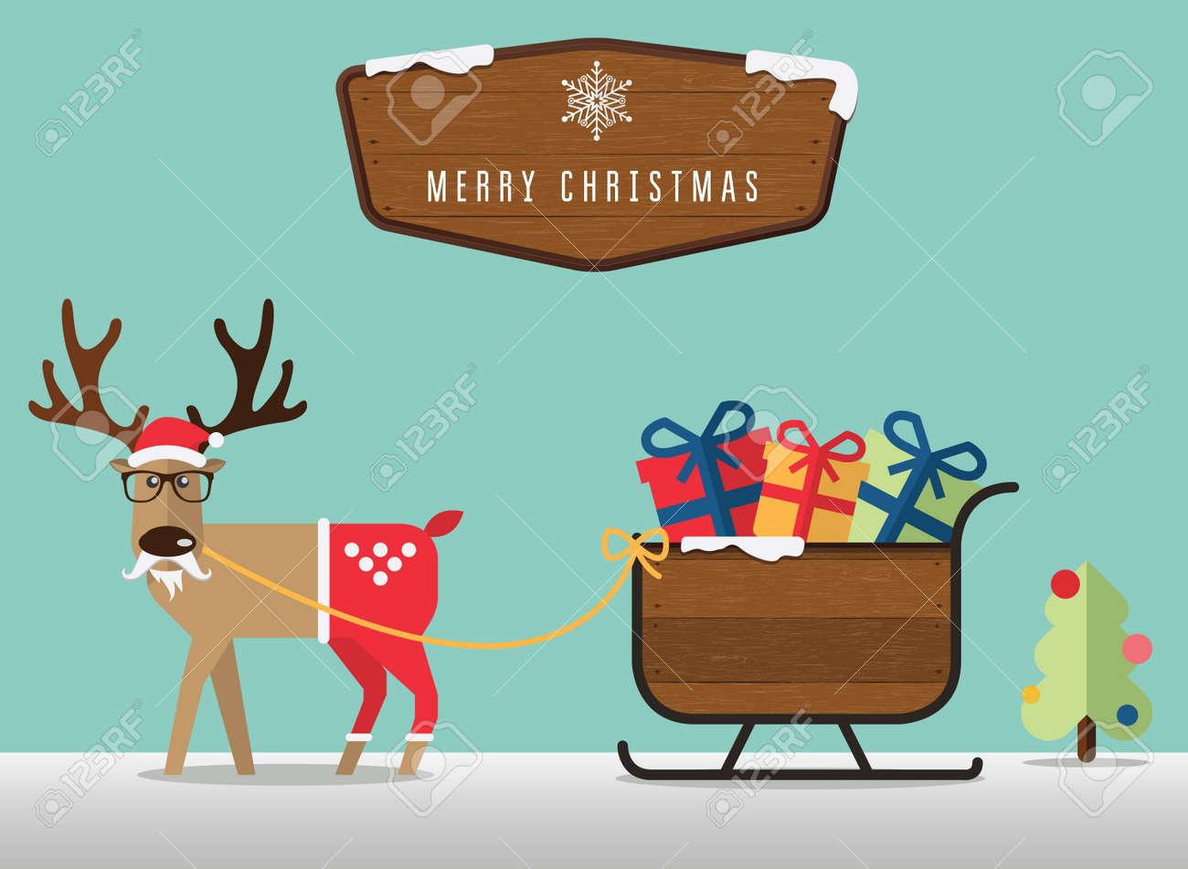 Merry Christmas scene with reindeer , santa?s sleigh and wood badge - 34625415