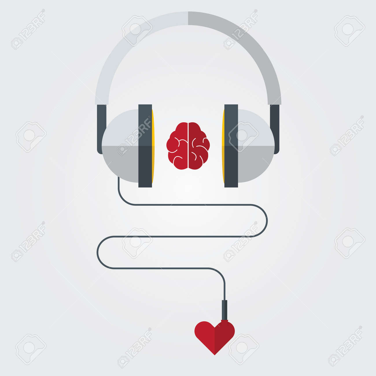 Headphone with brain and heart in flat design. Vector. Illustration - 34703060