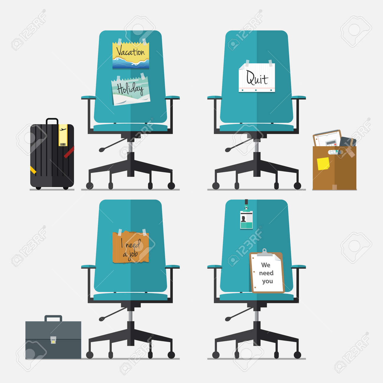 Set of office chair in flat design with resign message, vacation or holiday message, I need a job message and we need you message, Vector, Illustration - 35613627