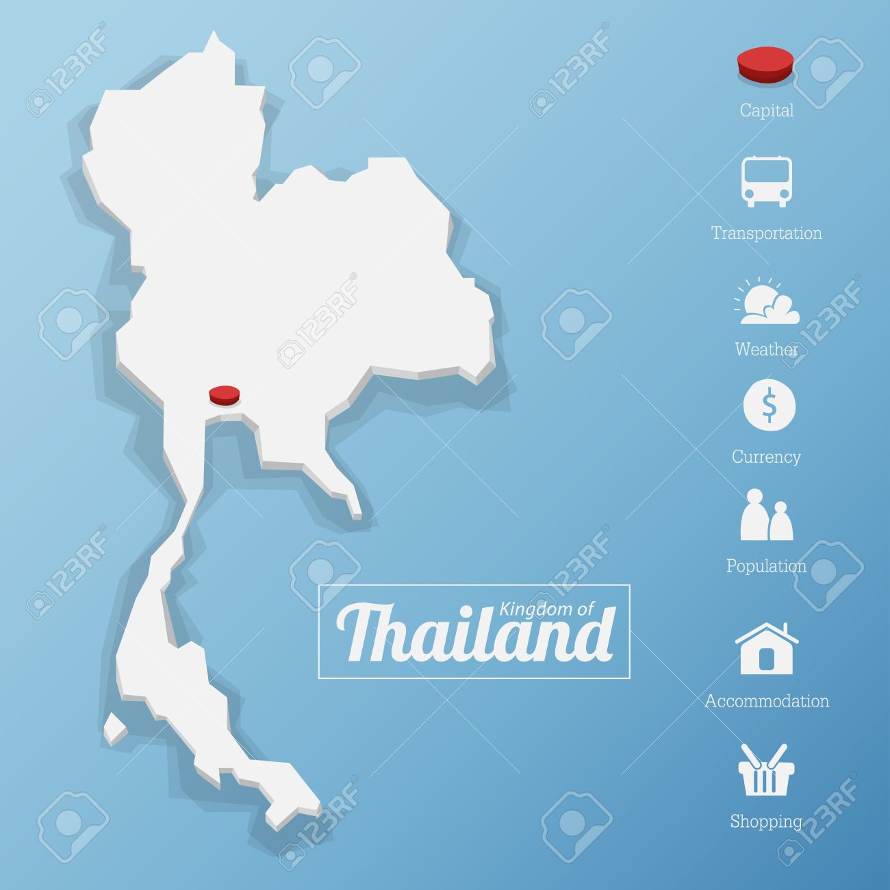 Kingdom of Thailand map. Including tourism icon in flat design for modern infographic, Vector, Illustration - 38530300