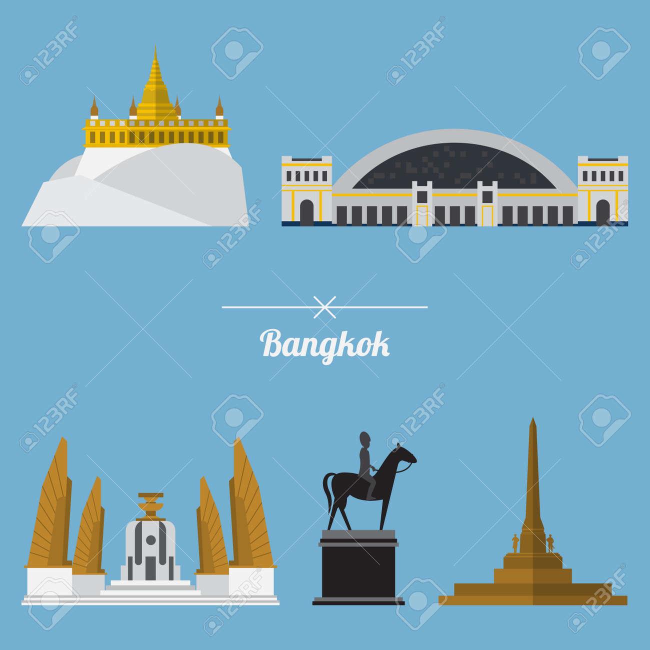 Icon set of Bangkok city landmark in flat design. Capital of Thailand. Vector. Illustration - 38530312
