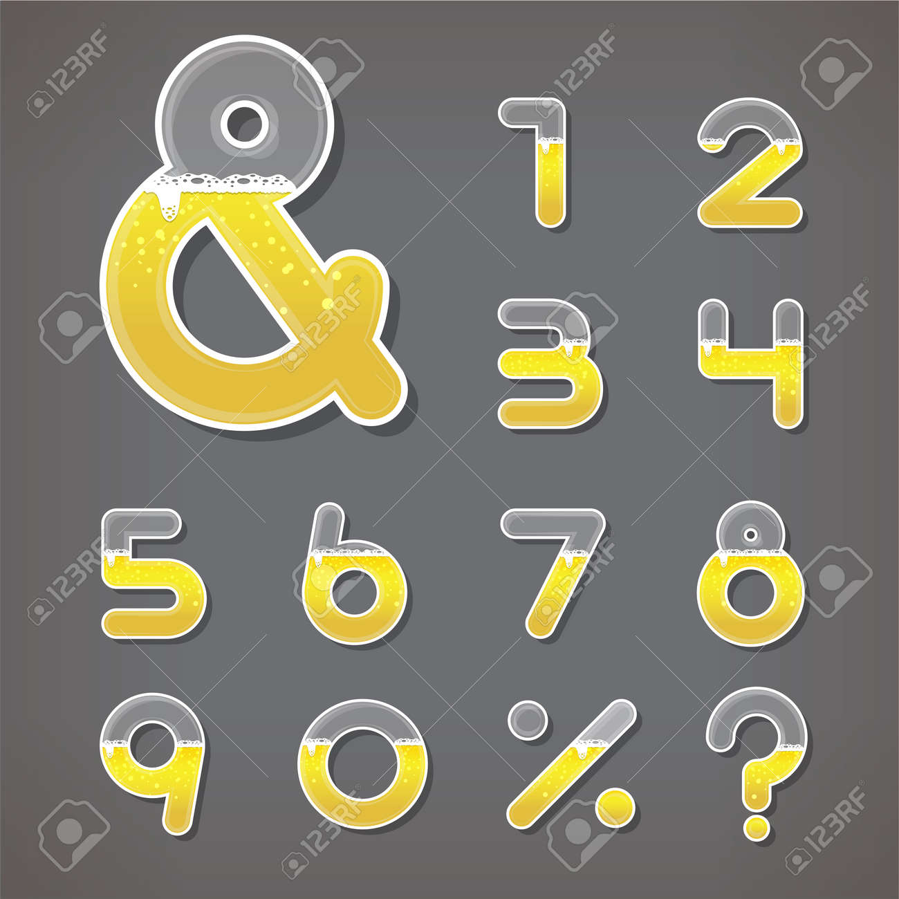 Beer Numbers Set And Ampersand Letter Fonts Vector Illustration