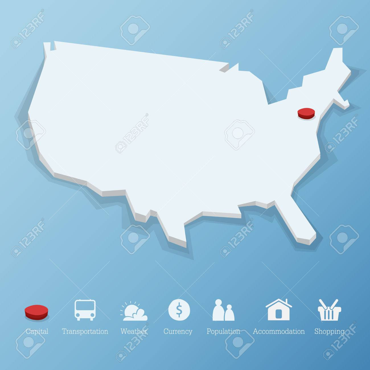 Flat Us Map.United States Of America Map In Low Poly Design Including Tourism
