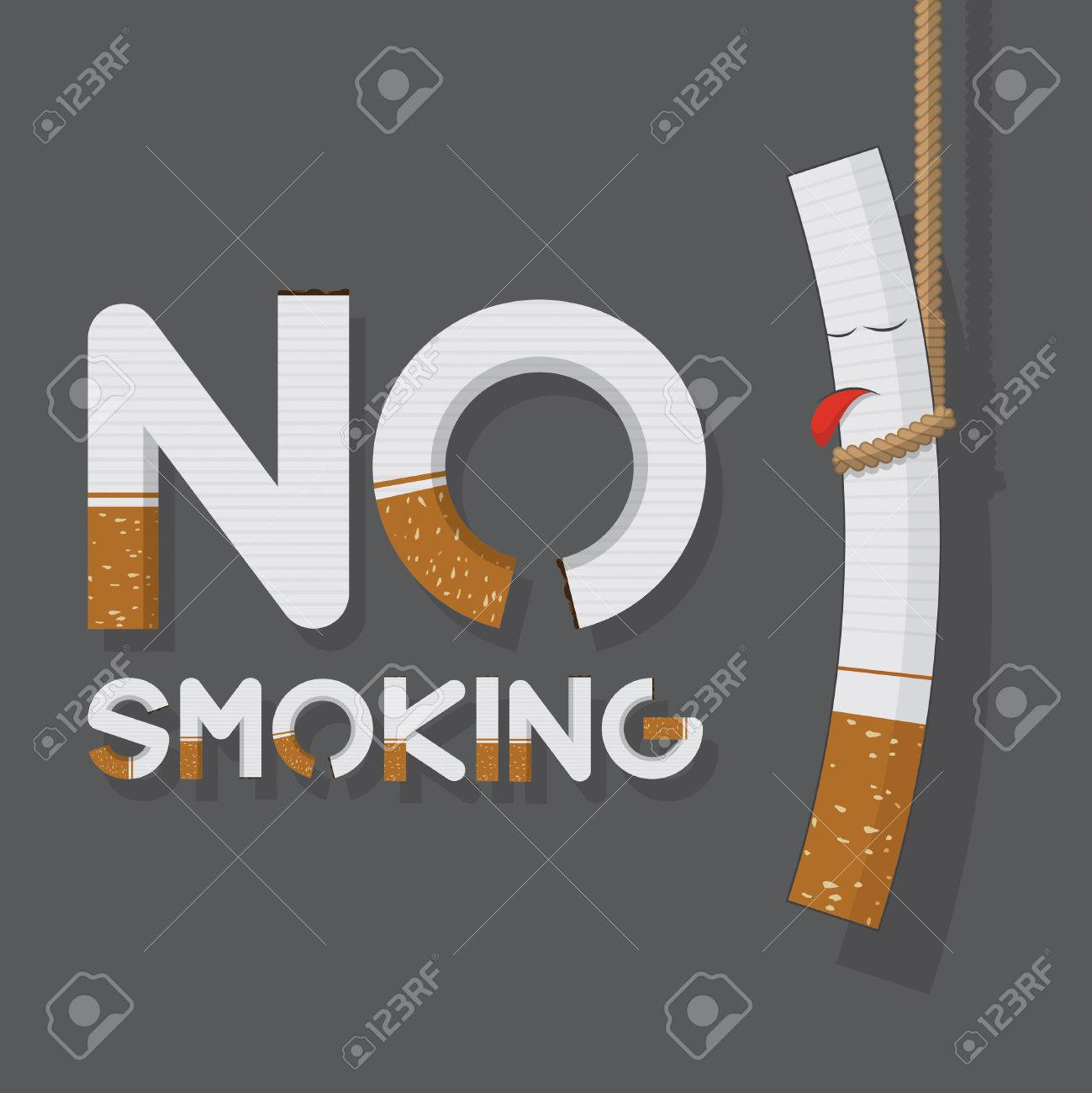 May 31st World No Tobacco Day poster. No smoking sign in cigarette letters and hanging cigarette. Icons. Vector. Illustration - 39081820