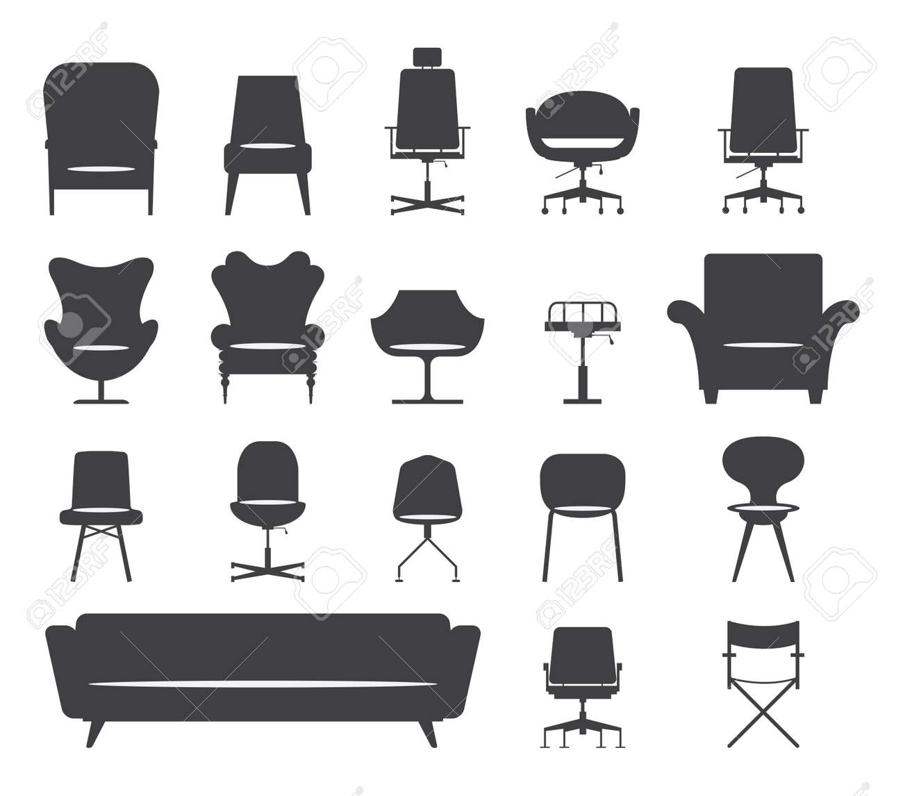 Icon set of silhouette modern furniture chair and sofa . Vector. Illustration - 39081868