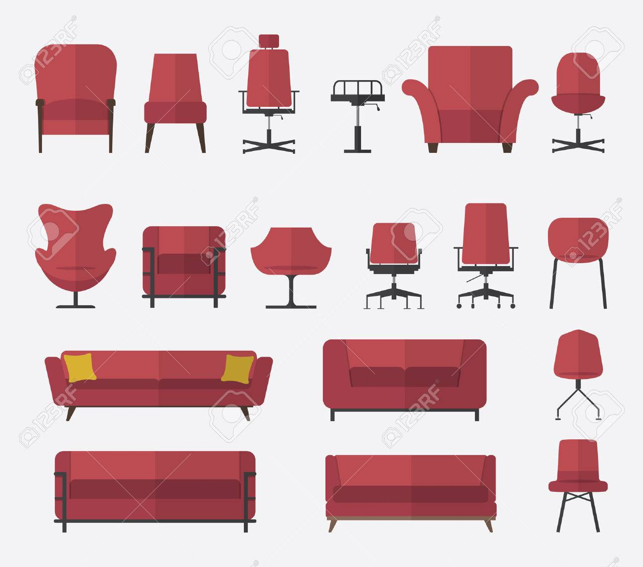 Flat design icon set of chair and sofa in marsala color. Vector. Illustration. - 39074321