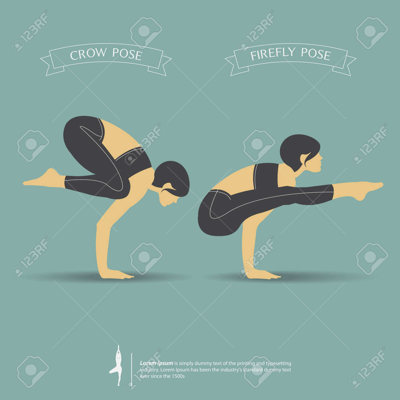 Yoga poses in two position. Vector Illustration.