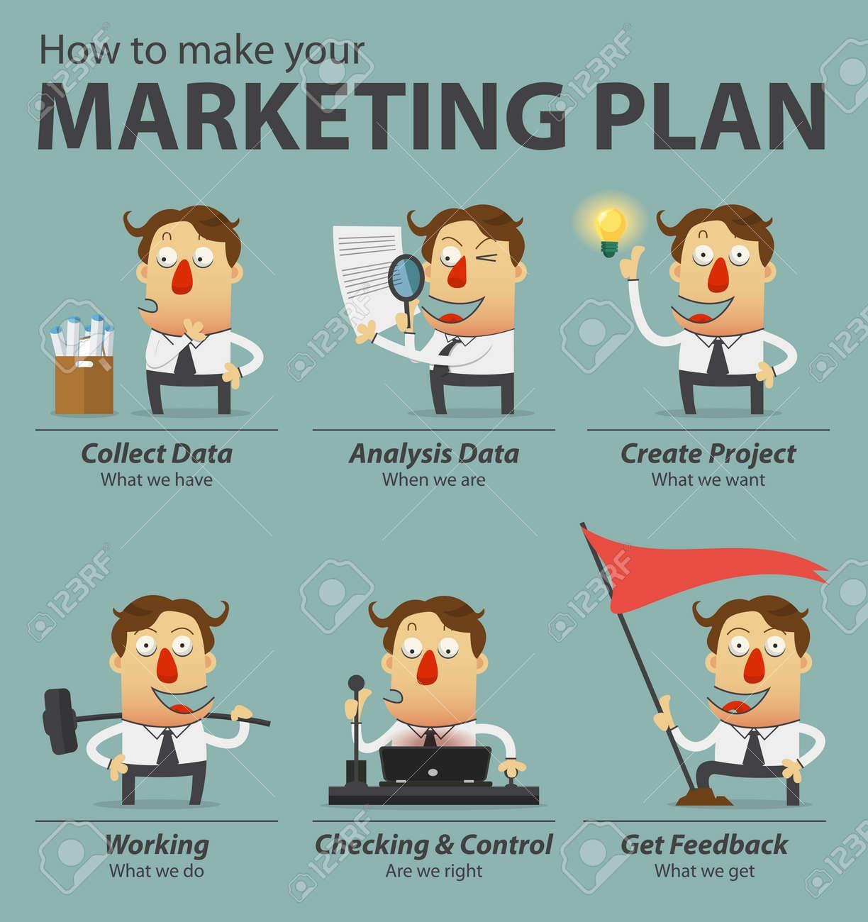 Marketing plan infographics. Cartoon character. Vector Illustration. - 40239788