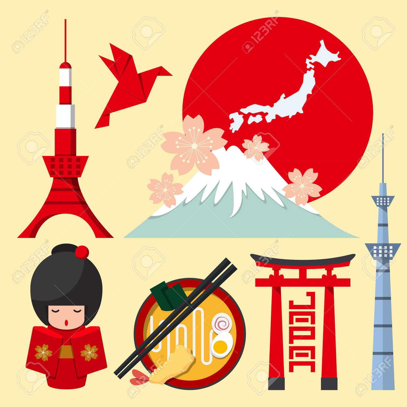 Set of Japan icon in flat design. Vector Illustration - 40239786