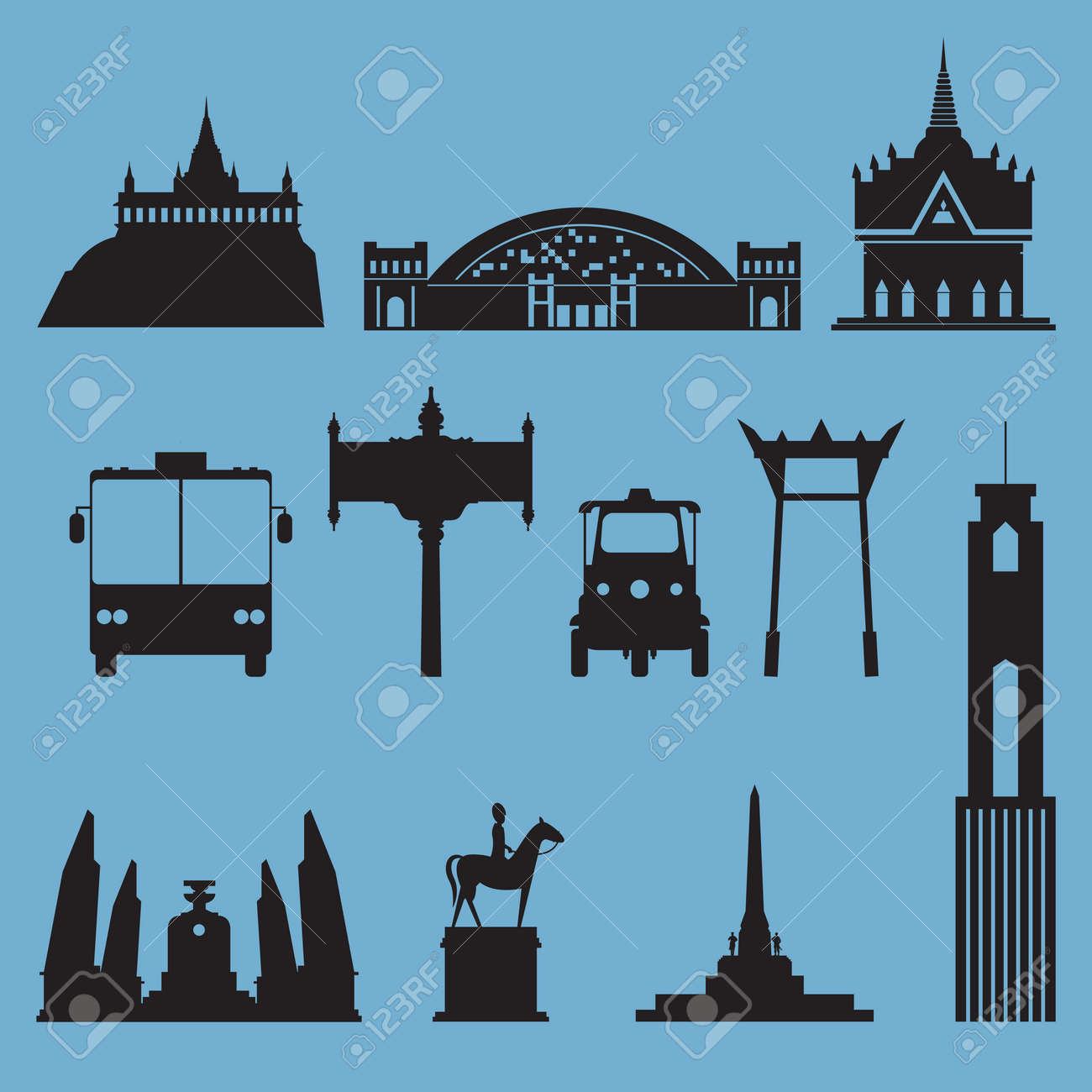 Silhouette icon set of Bangkok city landmark. Capital of Thailand. Vector Illustration - 40240094