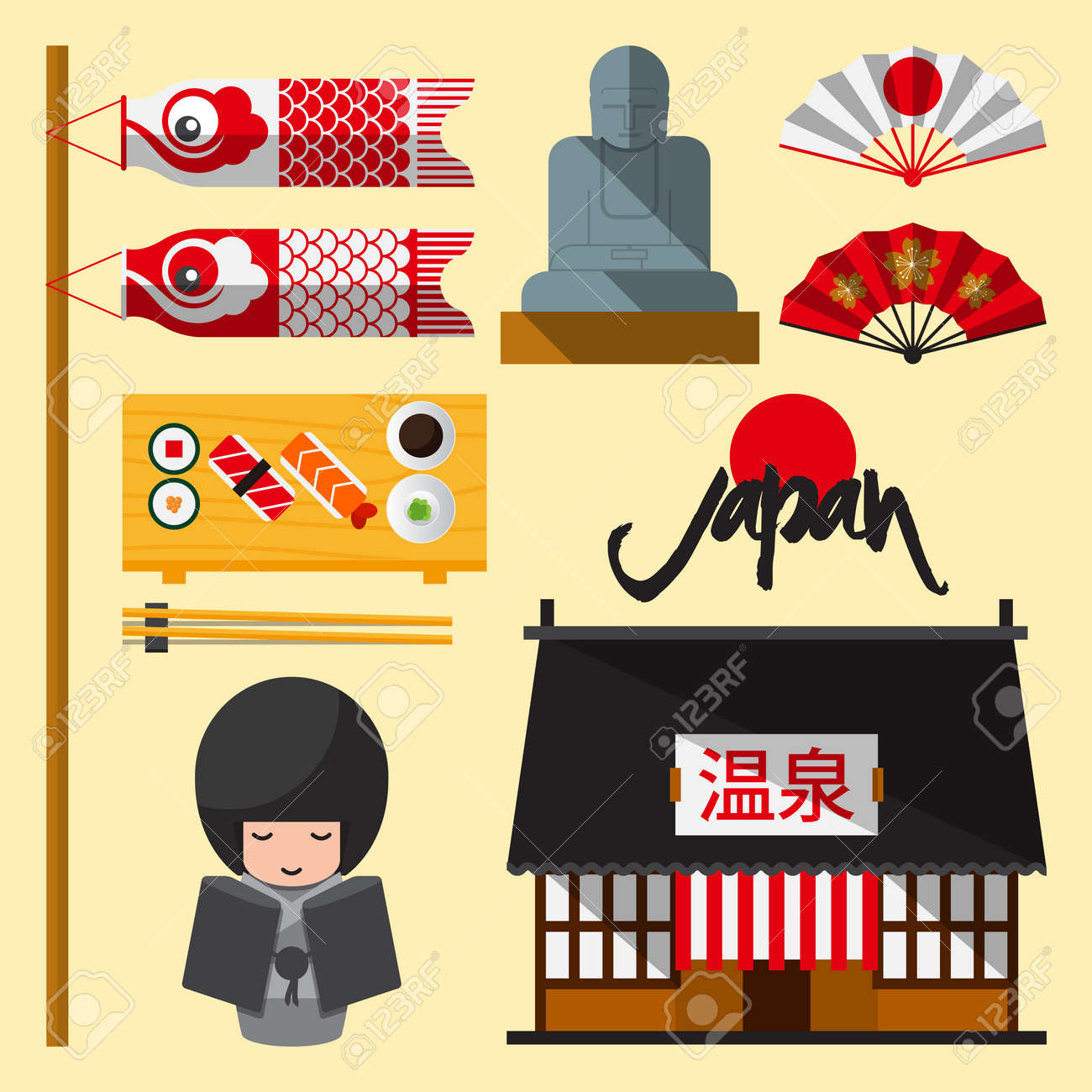 Set of Japan icon in flat design. The Japanese letters mean Onsen hot spring. Vector Illustration - 40456521
