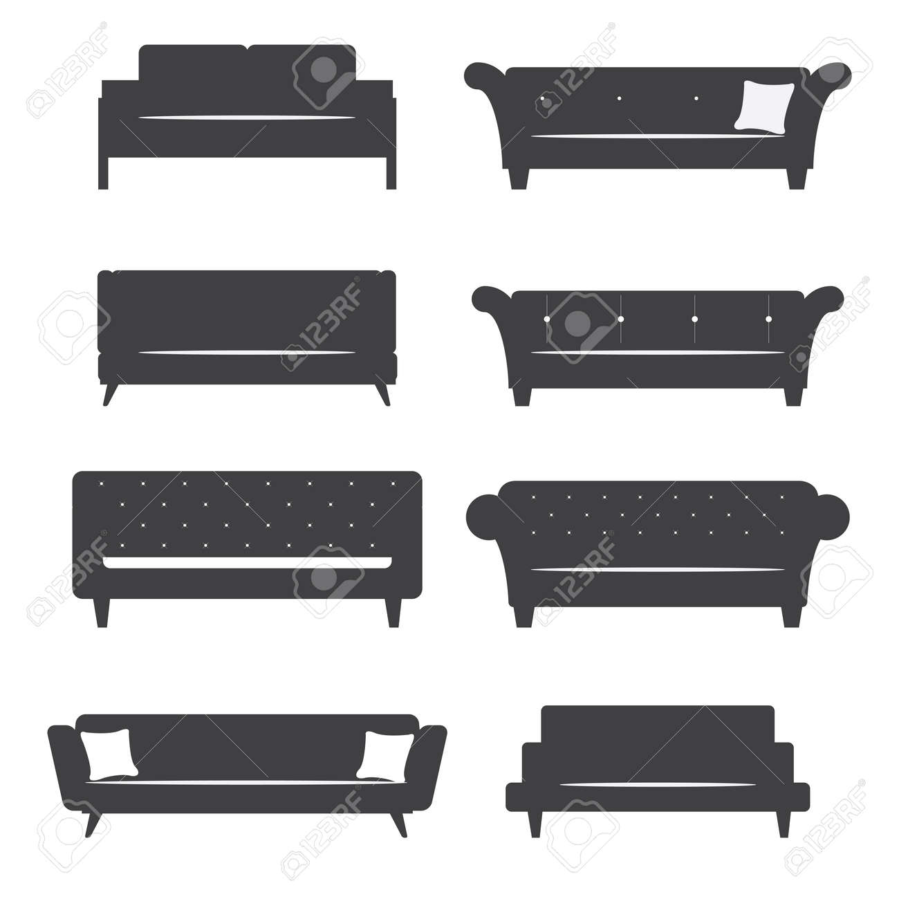 Flat design icon set of silhouette furniture chair and sofa. Vector. Illustration. - 41039284