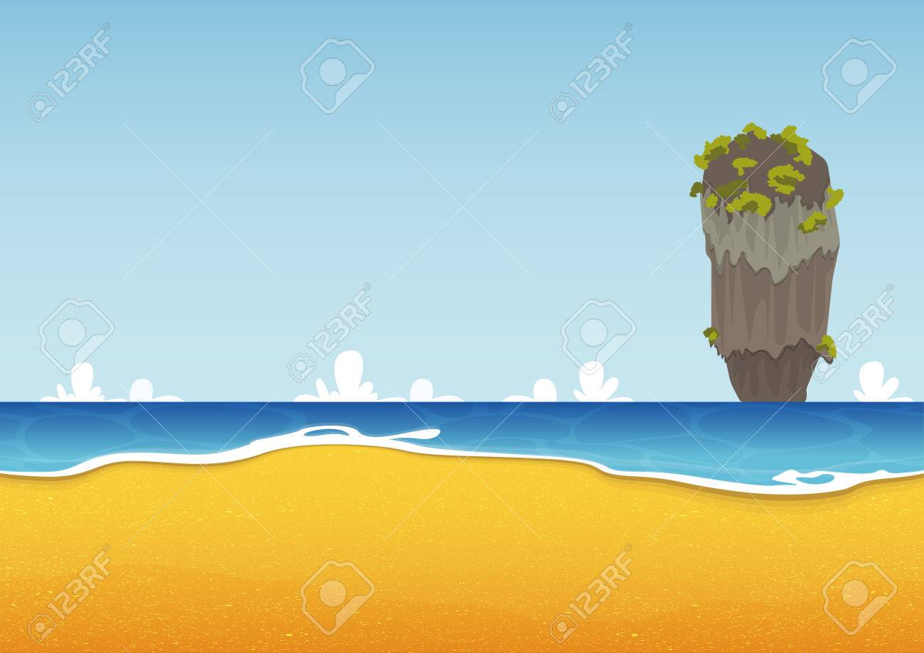 Thailand beach seascape with sea and sand texture. Background for summer tropical poster. Vector Illustration - 42027551
