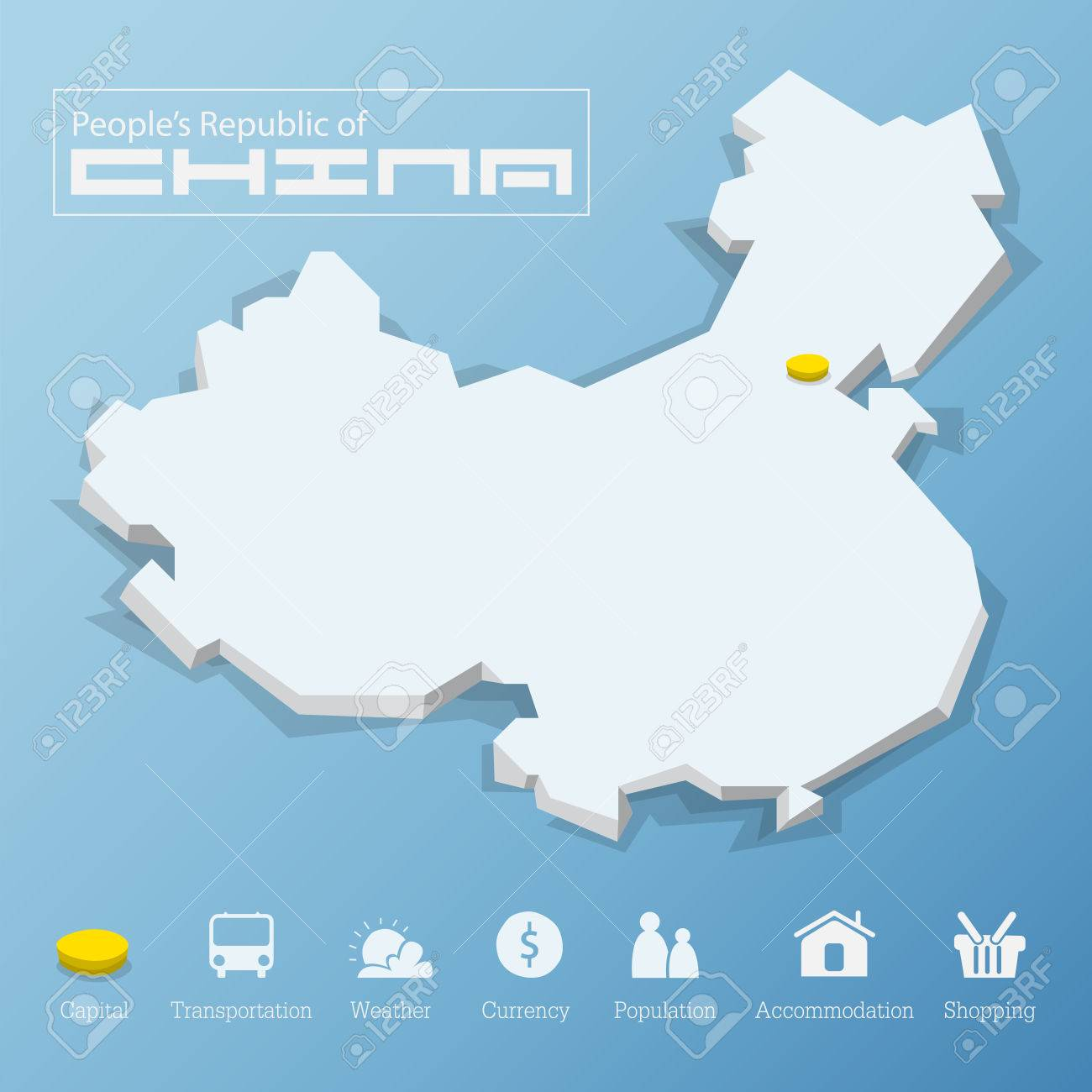 Beijing City People Republic Of China Map Including Tourism