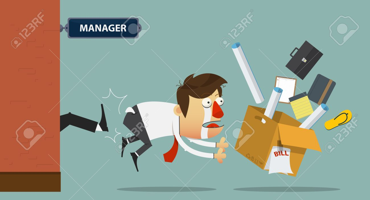 Sadness businessman being kicked out of the door by his boss. Cartoon character. Vector Illustration - 43575420