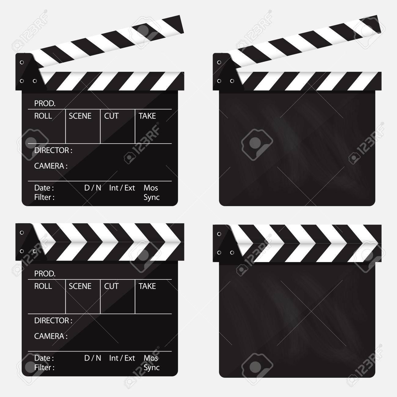 Set of movie clapperboard. Blank movie clapperboard. Vector Illustration - 44194493