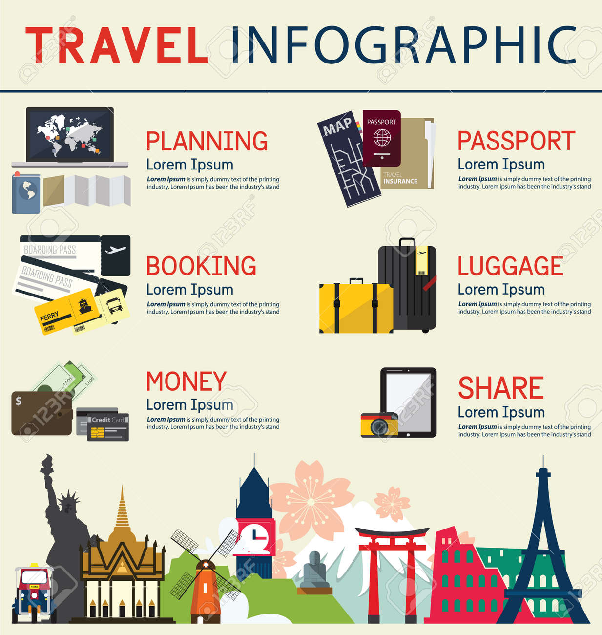 The concept of infographics for travel business. Infographic element. Vector Illustration - 44713371