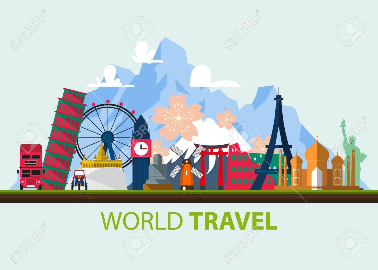 Famous world landmark icons in flat design. Vector Illustration - 44713373