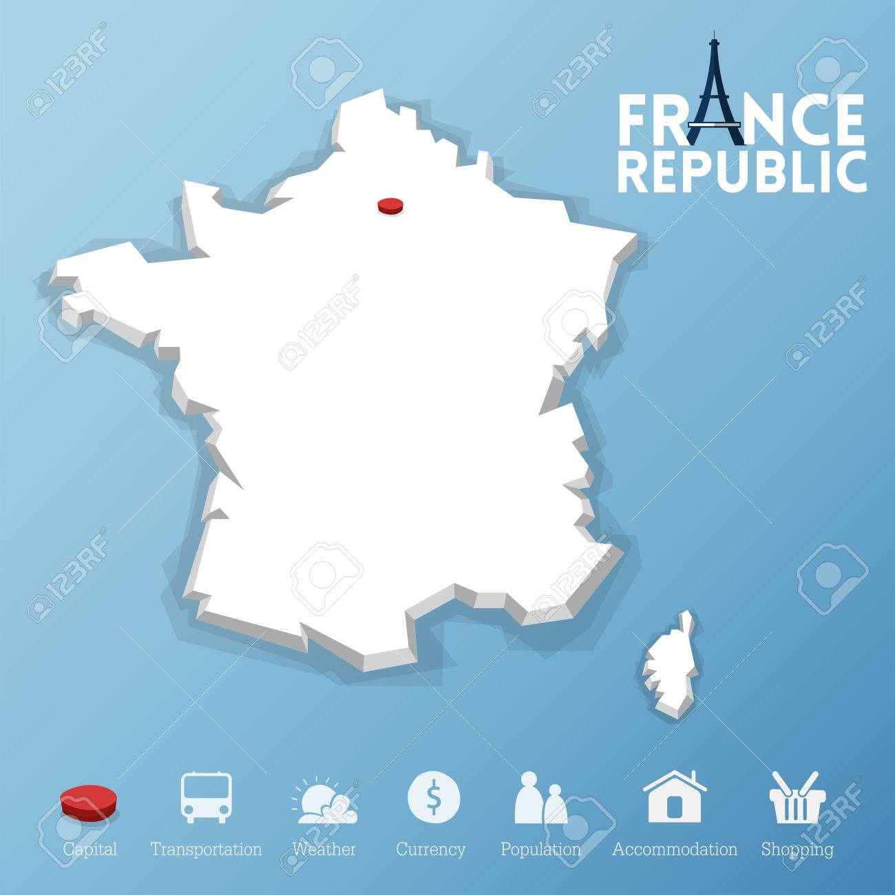 Paris City Republic Of France Map Including Tourism Icon In - Modern map of paris