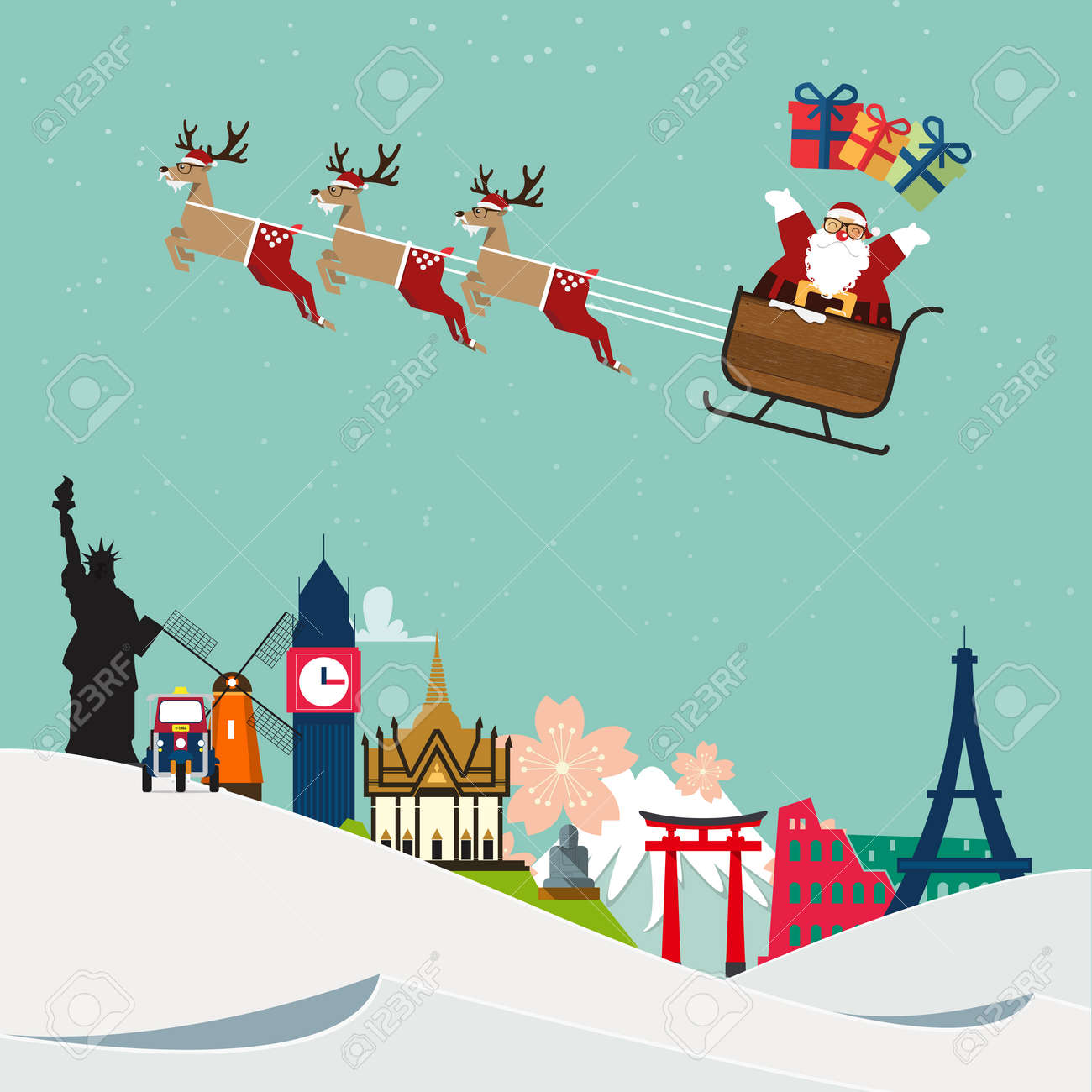 Santa Claus travel around famous world landmark. Vector Illustration - 49105083