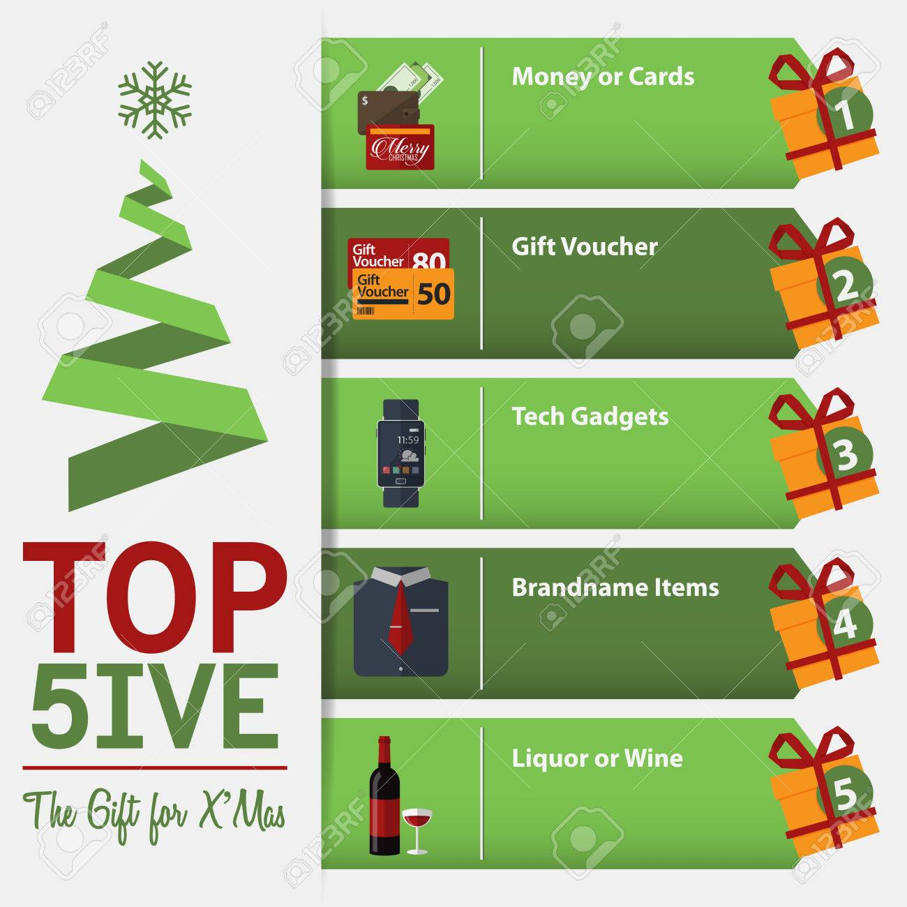 Infographic For Top 5 The Gift For Christmas. Vector Illustration ...