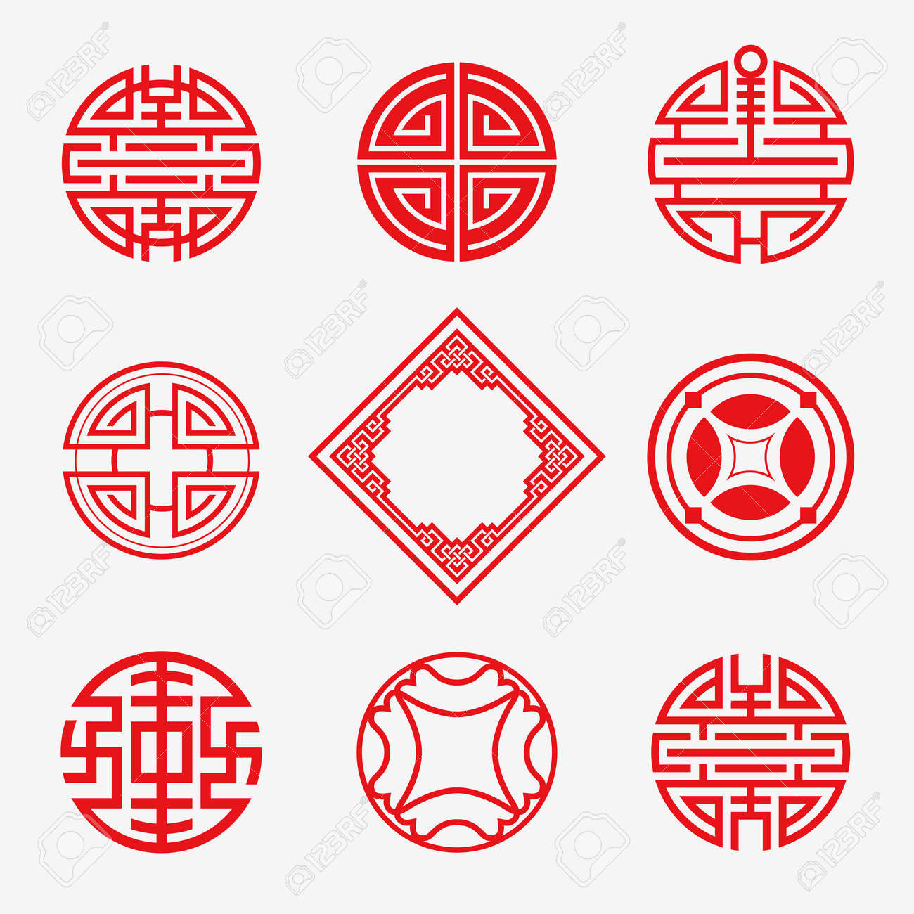 set of simply oriental art frame border knot for chinese new royalty free cliparts vectors and stock illustration image 50134531 set of simply oriental art frame border knot for chinese new