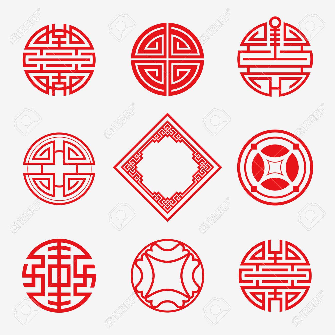 Set Von Simply Orientalischer Kunst Rahmen, Grenze, Knoten Für Das ...