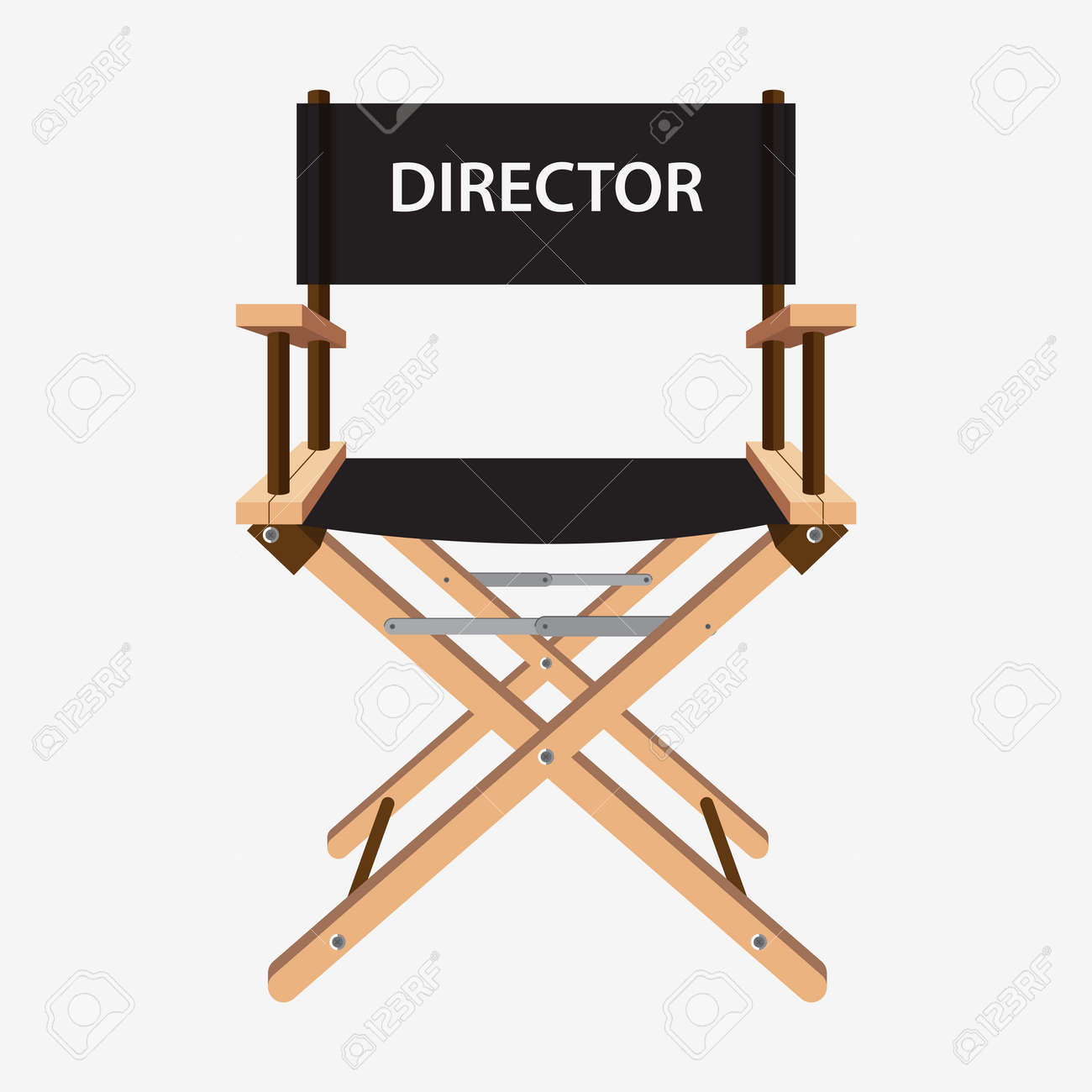 Back of directors chairs - Director Chair Film Director Chair Wooden Movie Director Chair Vector Illustration Isolated On