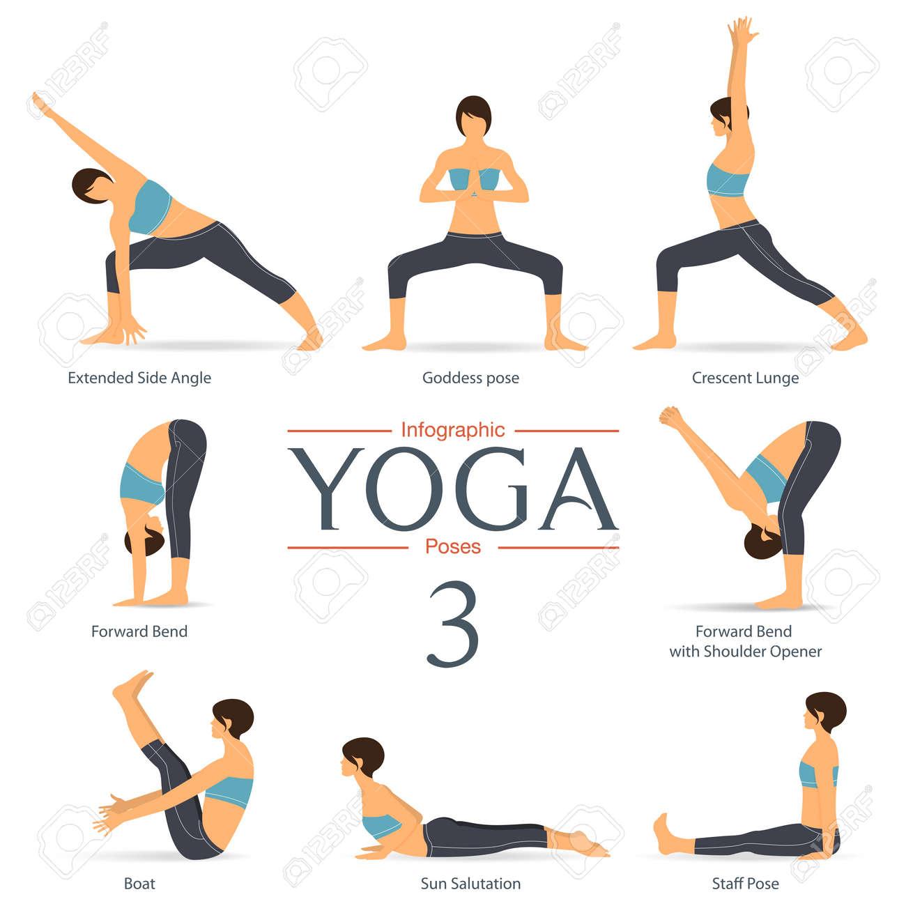 Set of yoga poses in flat design . Yoga infographics. Illustration. - 54597753