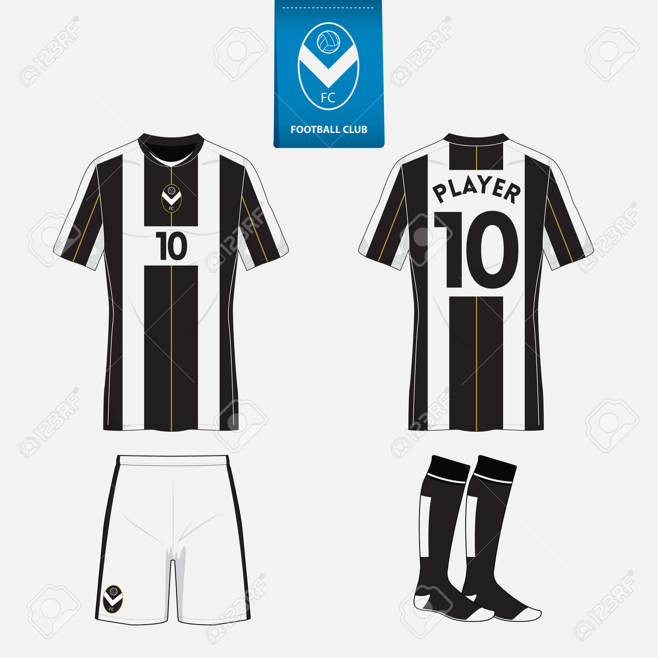 Set Of Soccer Kit Or Football Jersey Template For Club Flat Logo On