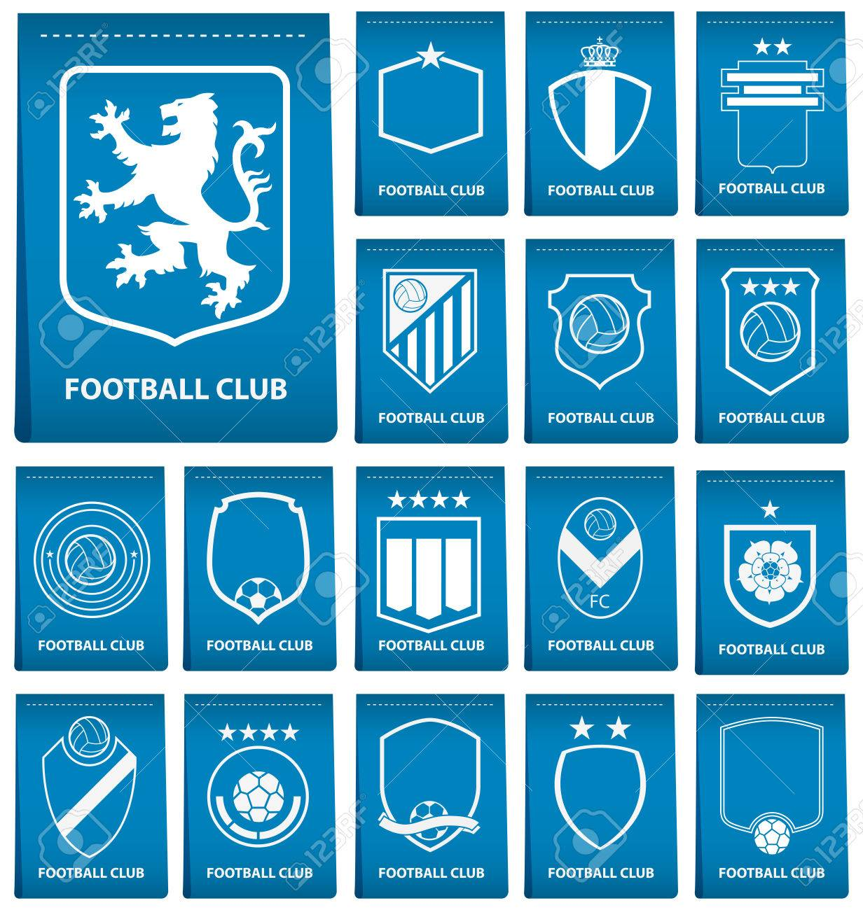 set of football or soccer crest on blue tag in flat design football