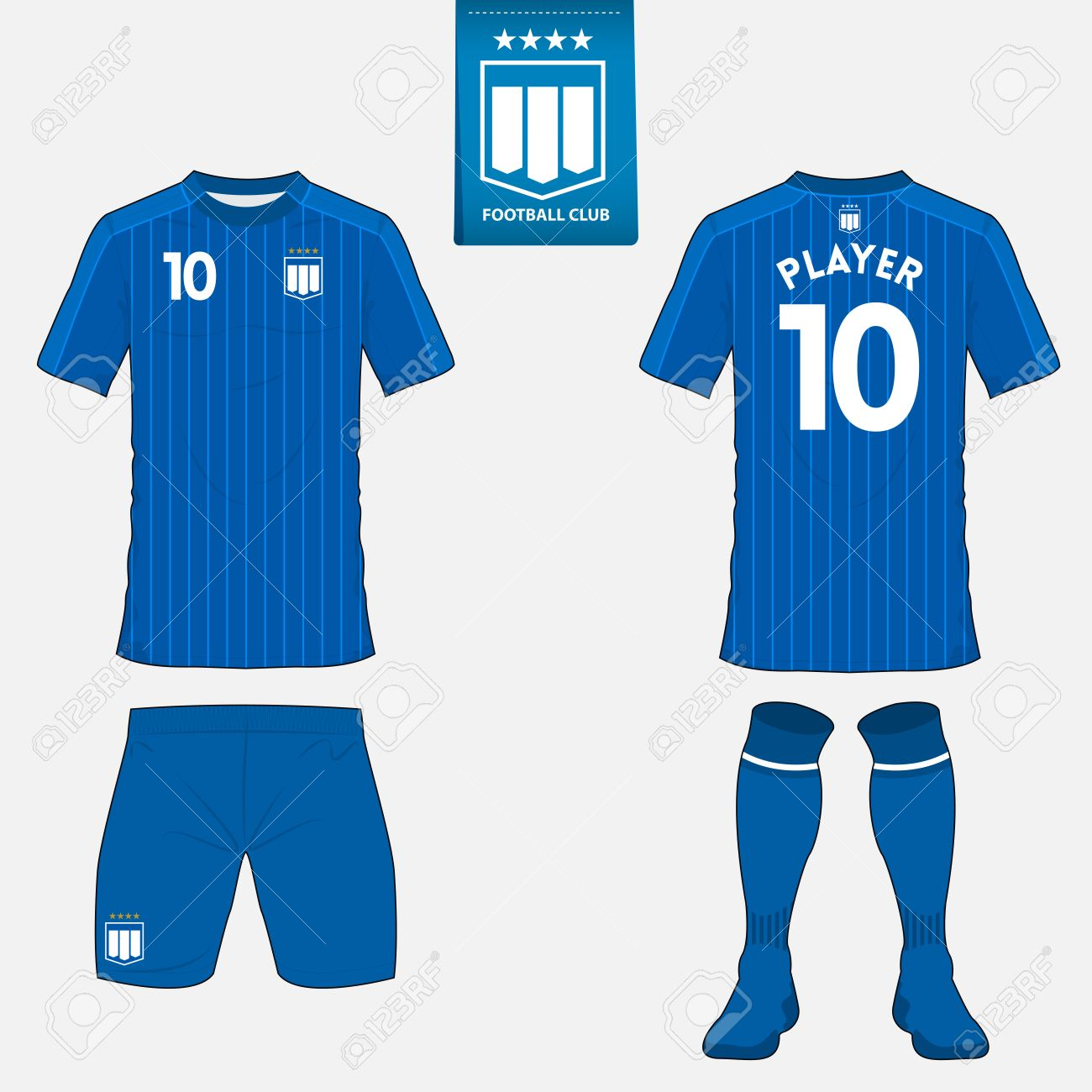 Set of soccer kit or football jersey template for football club. Flat football logo on blue label. Front and back view. Football apparel mock up. Vector Illustration - 59691761