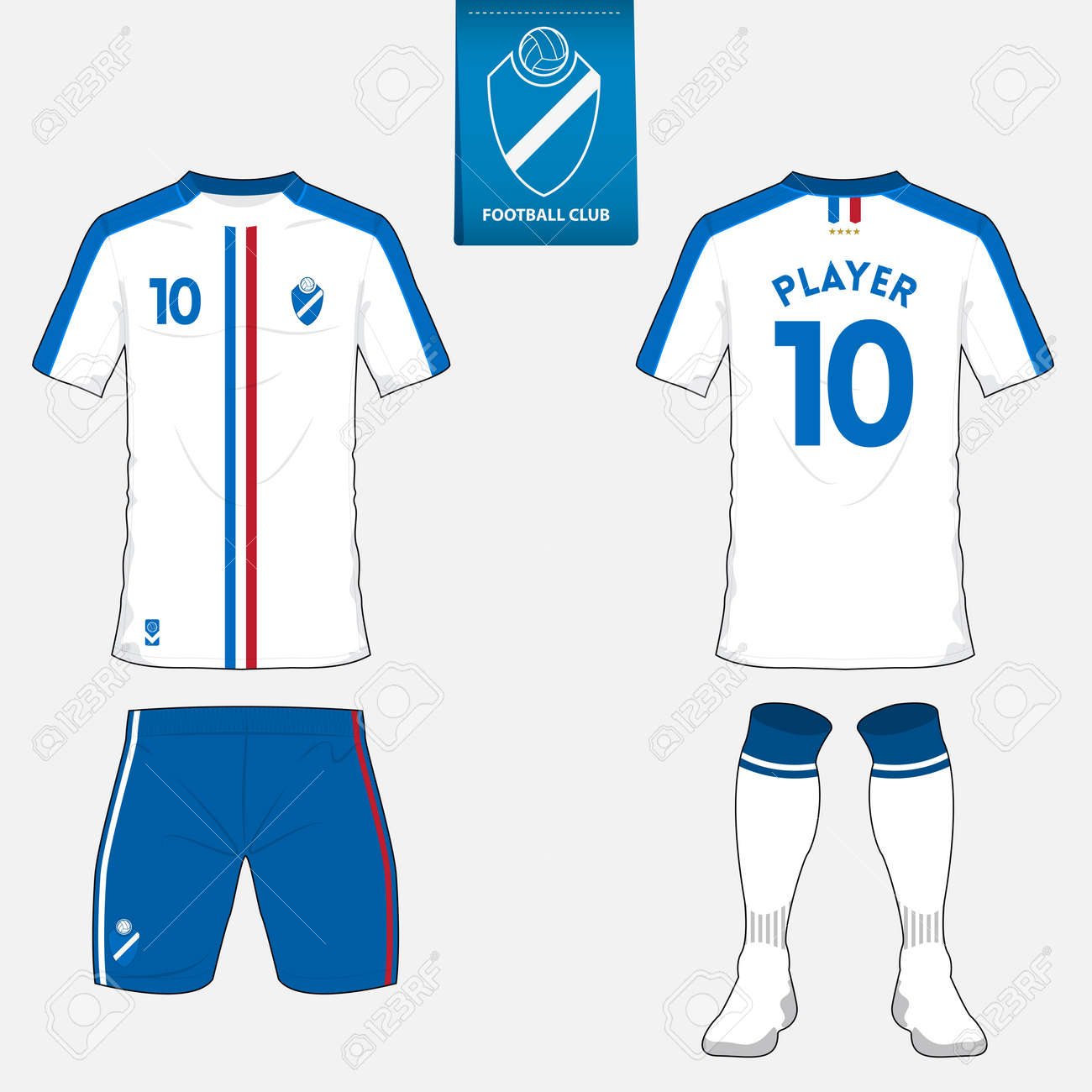 Set of soccer kit or football jersey template for football club. Flat  football logo on 4fdd2fcd8