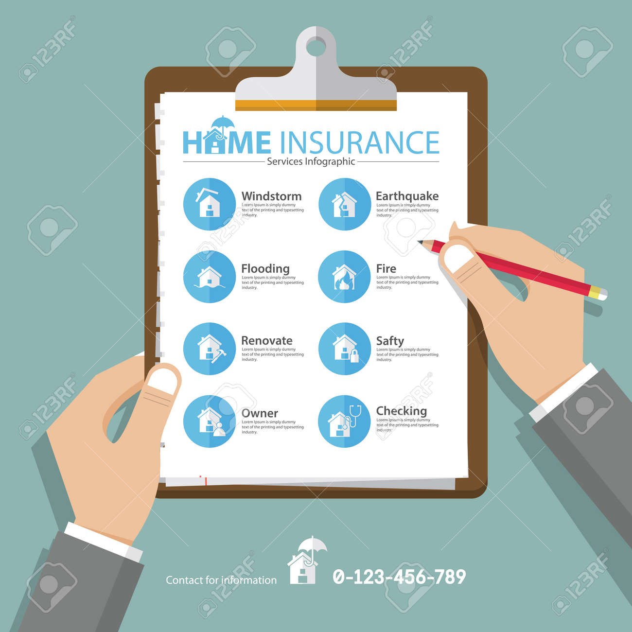 Infographics of home or real estate insurance report in flat design. Hand holding clipboard. Vector Illustration - 62816607