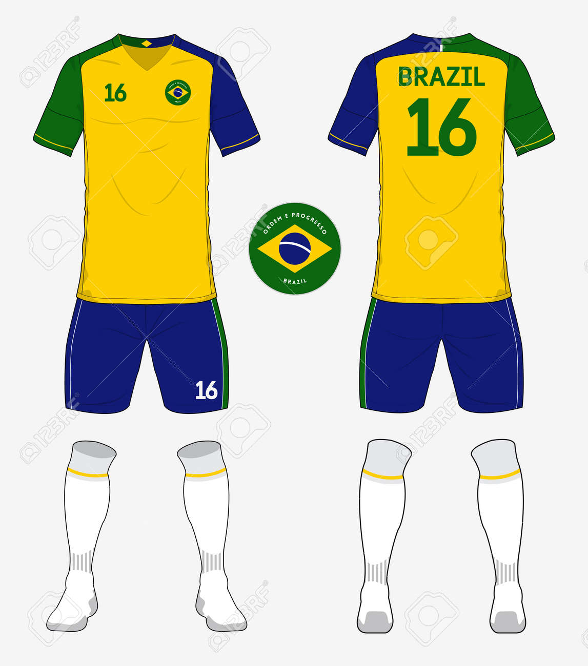 cb2b0a68f5e Set of Brazil soccer kit or football jersey template for football club.  Front and back