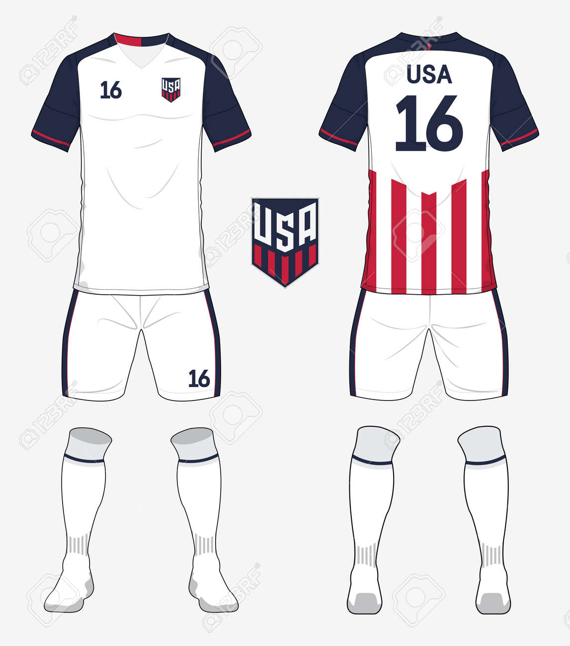 Set Of United States America Soccer Kit Or Football Jersey Template For Club