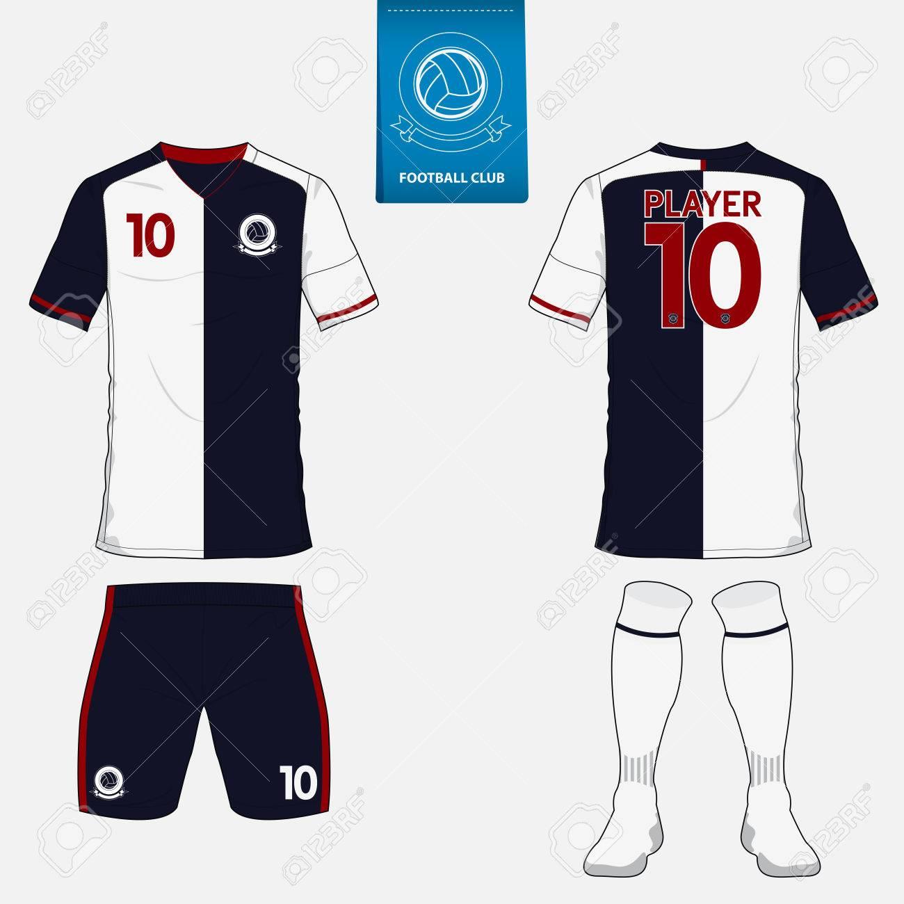 Conjunto De Juego De Fútbol O Plantilla De Camiseta De Fútbol Para El Club  De Fútbol. Logotipo Del Fútbol Plana En La Etiqueta Azul. a14efbf7a3282