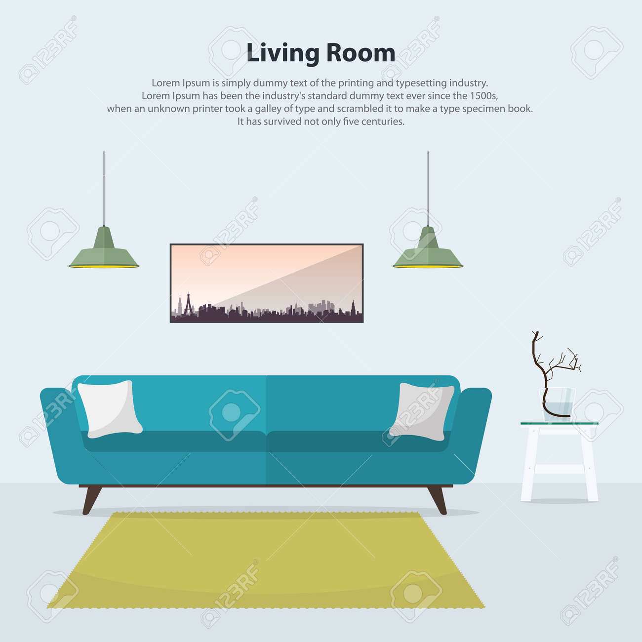 Home interior design modern living room interior with blue sofa table lamps and