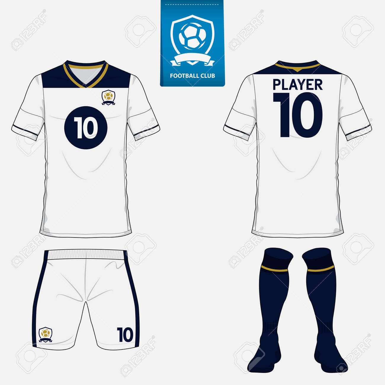 6d54a18c4 Set of soccer kit or football jersey template for football club. Flat logo  on blue